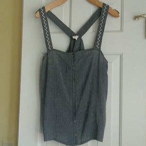 Roxy size small blue with white stripes top